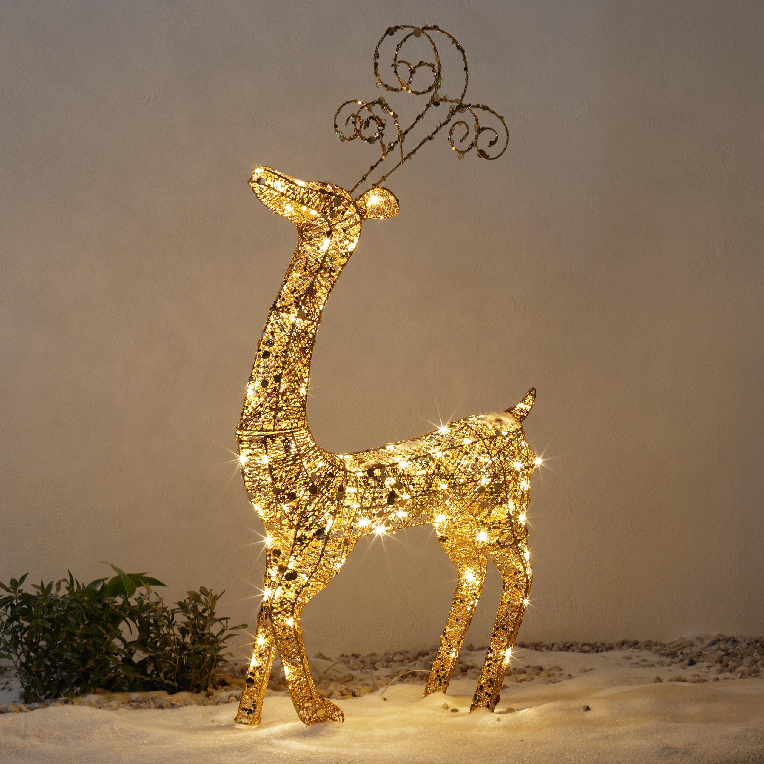 *For X-Mas*: LED-Rentier aus Kunststoff, stehend, gold, groß