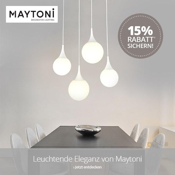 Jetzt 15 % Rabatt auf Leuchten von Maytoni sichern