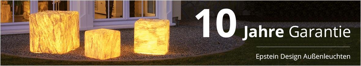 3 Jahre Garantie Epstein Design Außenleuchten, 10 Jahre Garantie auf UV-Beständigkeit
