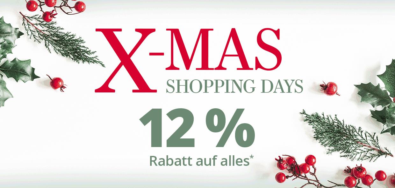 X-Mas Shopping Days - 12 % Rabatt auf alles
