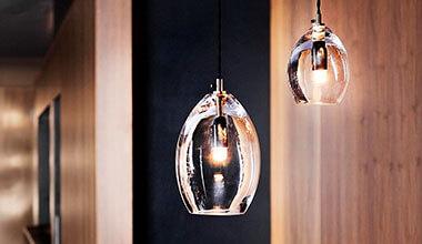 Klare Designer-Glashängeleuchte Unika