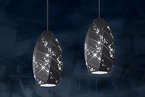Schwarze Kristall-Hängelampe Apta