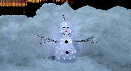 Kleine LED-Figur Crystal Snowman f. außen