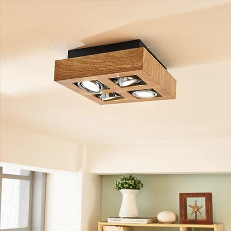 Spot Küche Wohnzimmer Lampe Strahler altmessing Holz