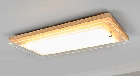 LED-Holz-Deckenleuchte Mylan, easydim, 57 x 29 cm