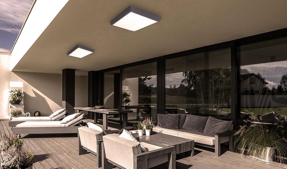 LED-Außendeckenleuchte IP54, anthrazit, 27 x 27 cm