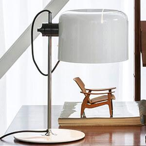 Oluce Coupé - zeitlose Design-Tischleuchte weiß