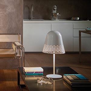 Rotaliana Capri - weiße Tischleuchte, 40 cm hoch