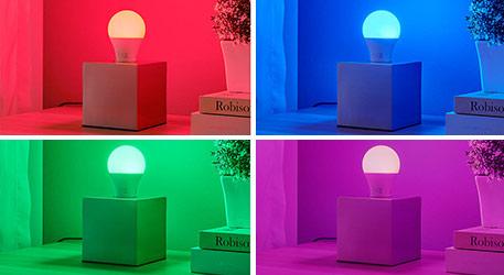 E27 7W LED-Lampe RGBW mit FB, 500 Lumen