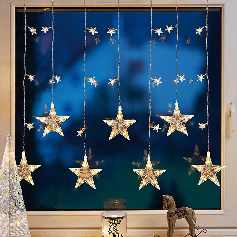 LED-Sternenlichtervorhang  5 Stränge 50 warmweiße LEDs 80cm breit Stränge 1m