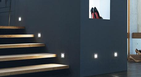 wandeinbauleuchten und wandeinbaustrahler mit led. Black Bedroom Furniture Sets. Home Design Ideas