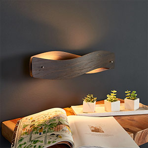 Furnierte LED-Wandleuchte Lian - Eiche kolonial