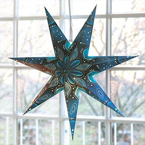 Stern aus Papier 75 cm in Blautönen