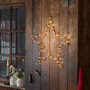 LED-Metallstern mit Timer, kupfer