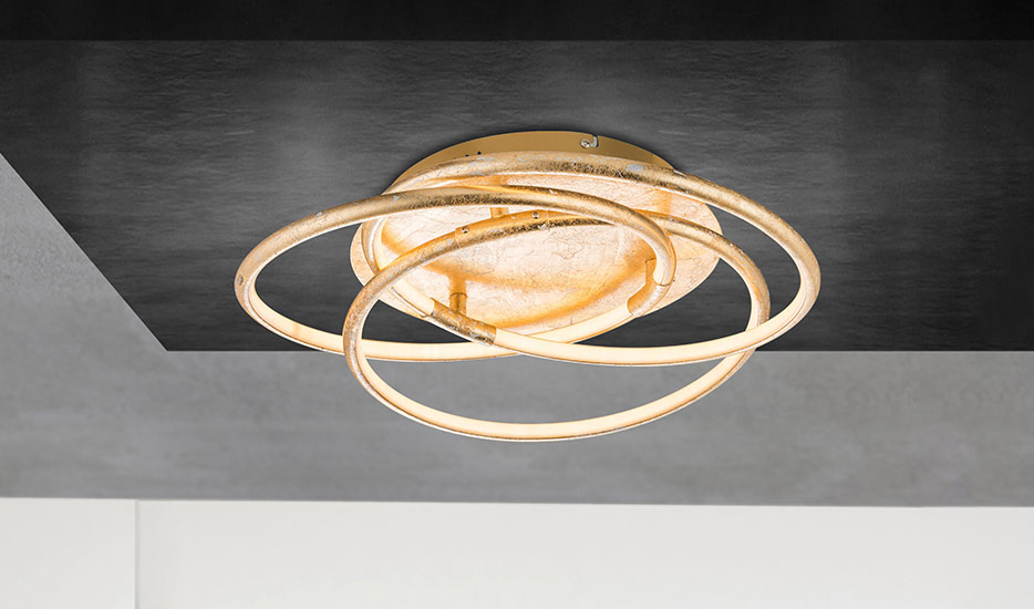 Barna - eine golden gestaltete LED-Deckenlampe