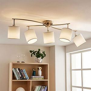 Weiße LED-Stoffdeckenlampe Mirola, 5-flammig
